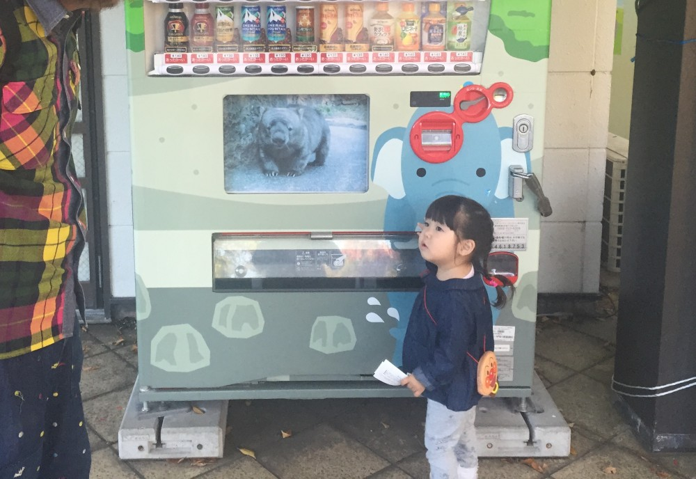 ジュースを買うとき、お金を入れる、ボタンを押す、ジュースを取り出すはやらせないと怒ります。